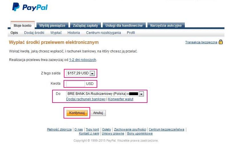 Wypłata z PaPal do banku