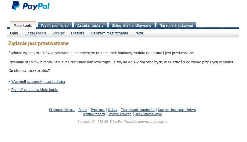 PayPal wypłata